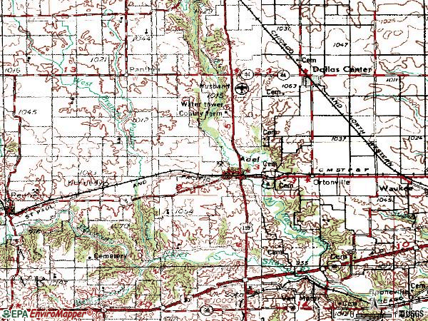Zip code 50003 topographic map