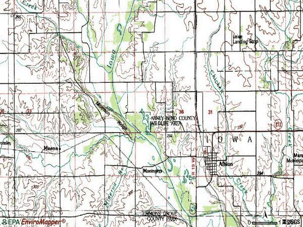 Zip code 50005 topographic map