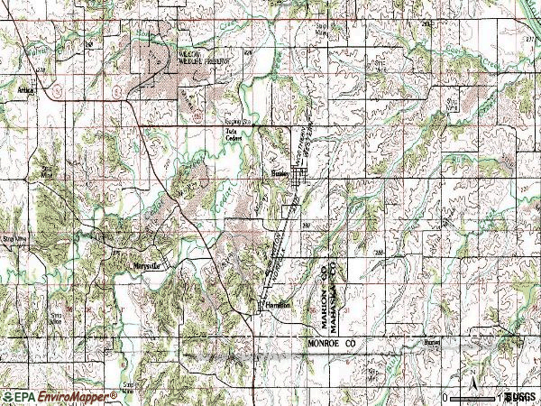 Zip code 50044 topographic map