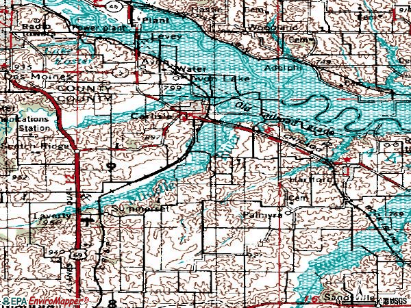 Zip code 50047 topographic map