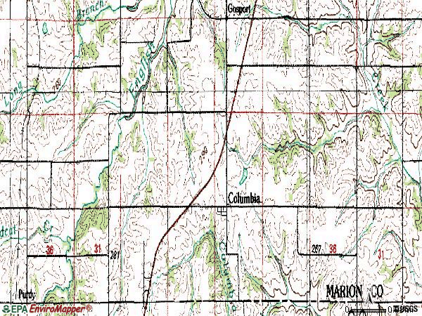 Zip code 50057 topographic map
