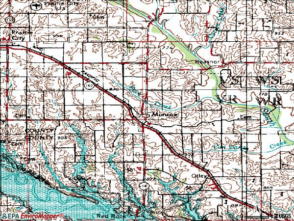 Zip code 50170 topographic map