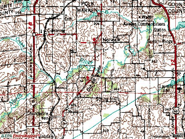 Zip code 50211 topographic map