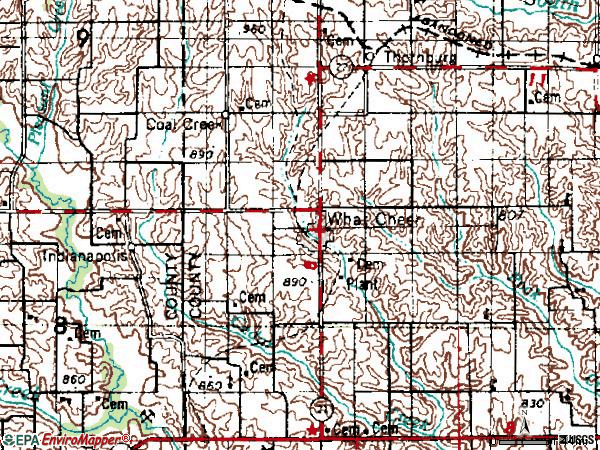 Zip code 50268 topographic map