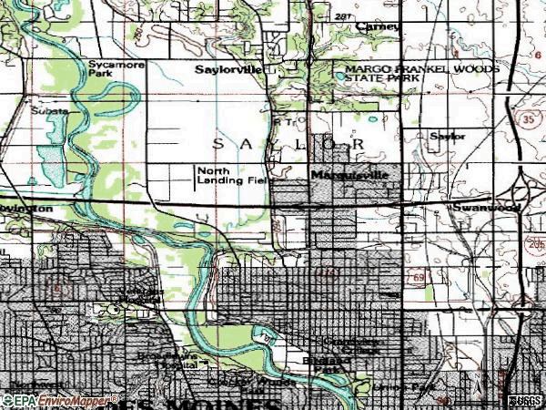 Zip code 50313 topographic map