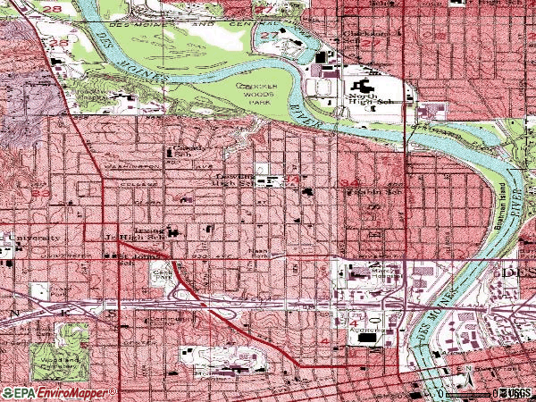 Zip code 50314 topographic map