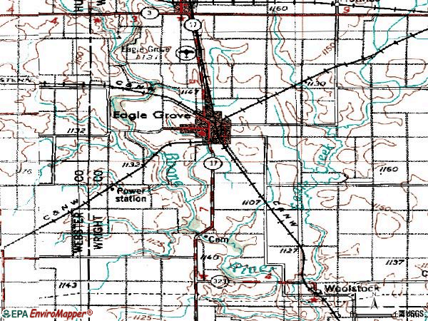 Zip code 50533 topographic map