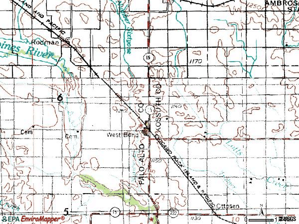 Zip code 50597 topographic map