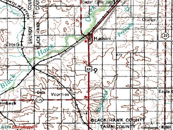 Zip code 50643 topographic map