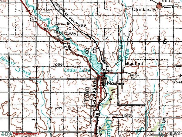 Zip code 50658 topographic map
