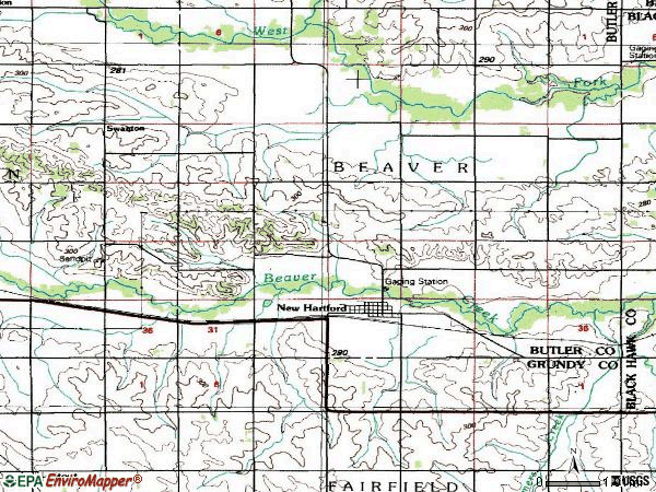 Zip code 50660 topographic map