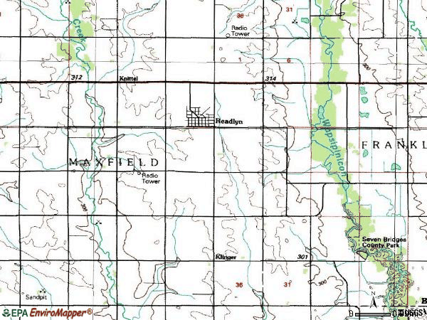 Zip code 50668 topographic map