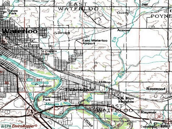 Zip code 50707 topographic map