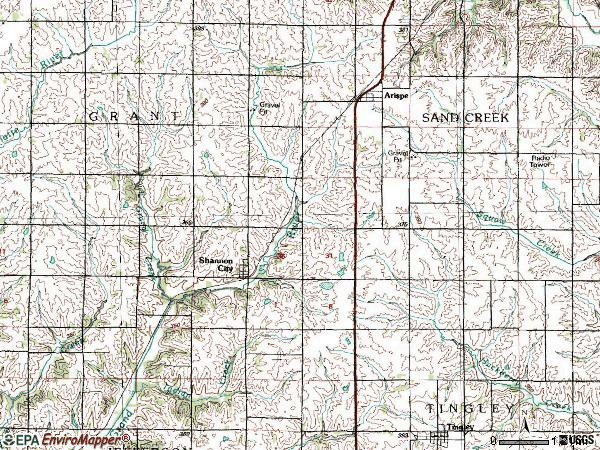 Zip code 50861 topographic map