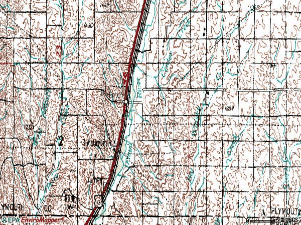 Zip code 51024 topographic map