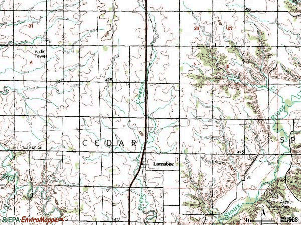 Zip code 51029 topographic map