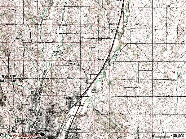 Zip code 51108 topographic map