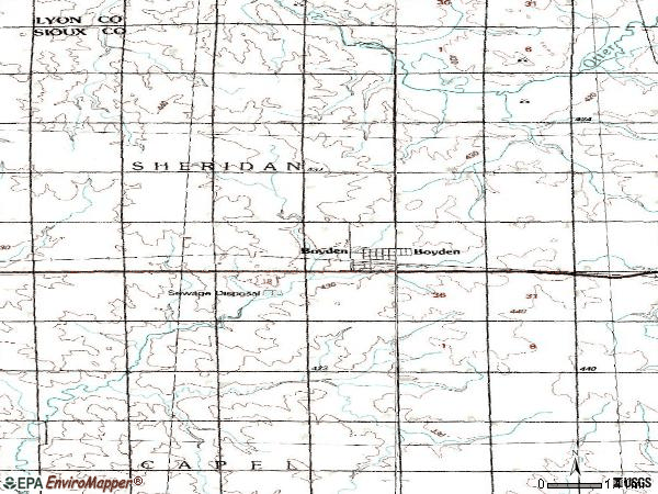 Zip code 51234 topographic map