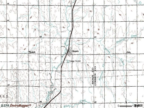Zip code 51238 topographic map