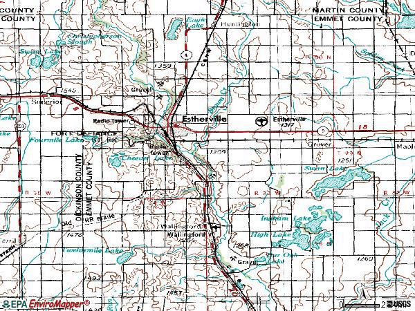 Zip code 51334 topographic map