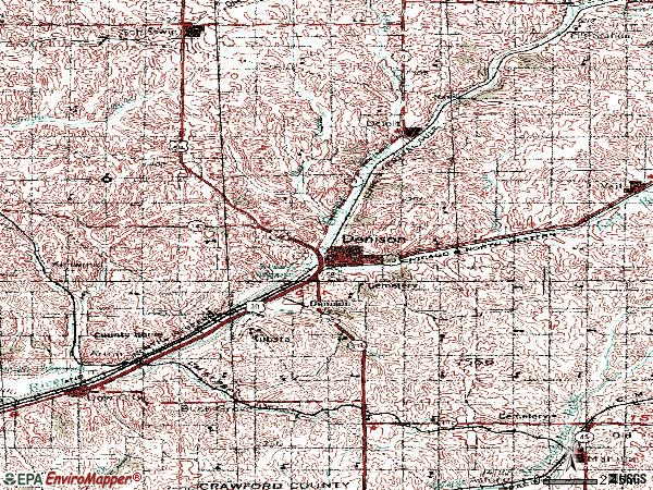 Zip code 51442 topographic map