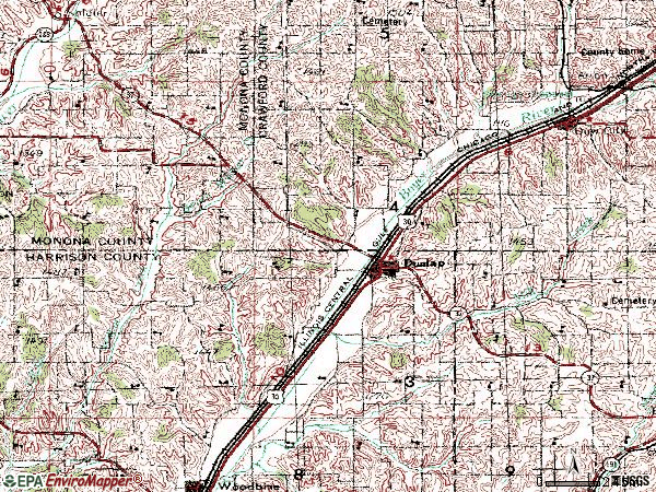 Zip code 51529 topographic map