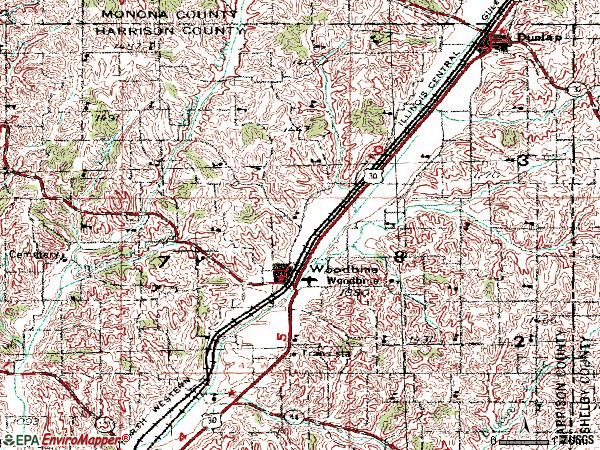 Zip code 51579 topographic map