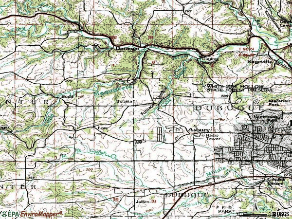 Zip code 52002 topographic map