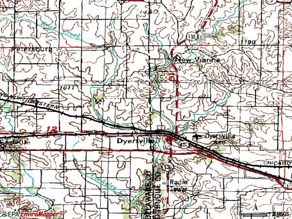 Zip code 52039 topographic map