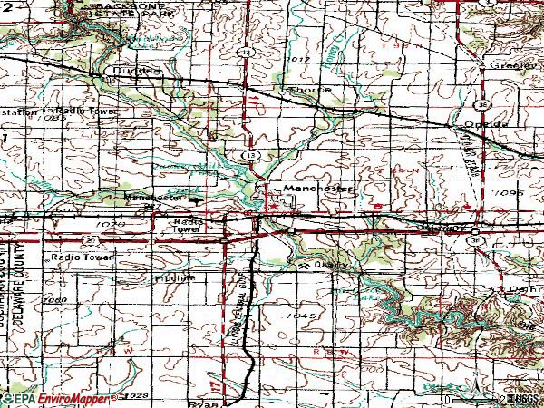 Zip code 52057 topographic map