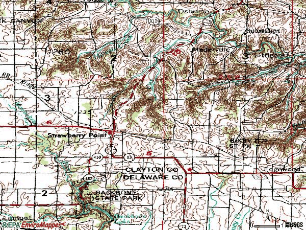 Zip code 52076 topographic map