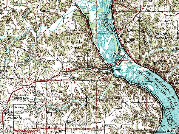 Zip code 52151 topographic map