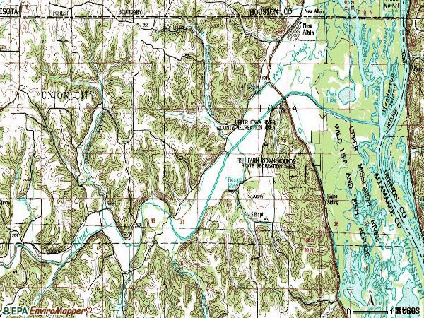 Zip code 52160 topographic map