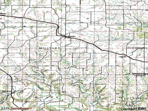 Zip code 52161 topographic map