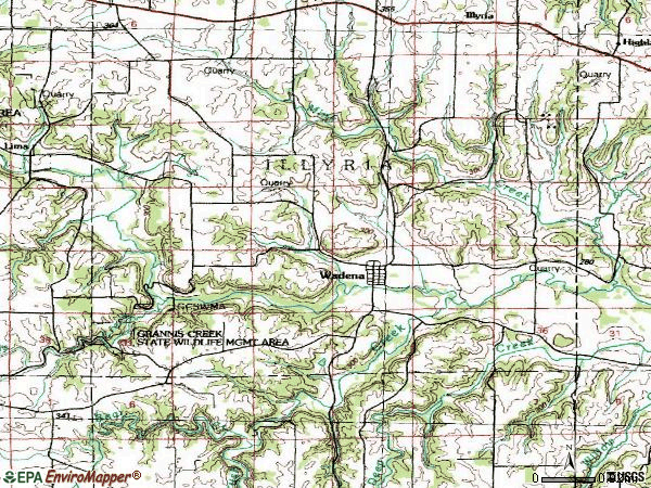 Zip code 52169 topographic map