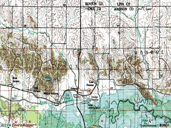 Zip code 52203 topographic map