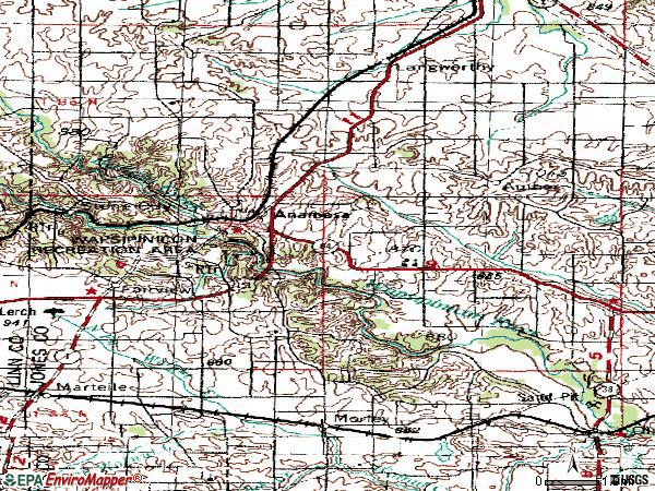 Zip code 52205 topographic map