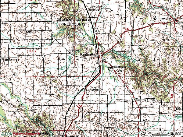 Zip code 52310 topographic map