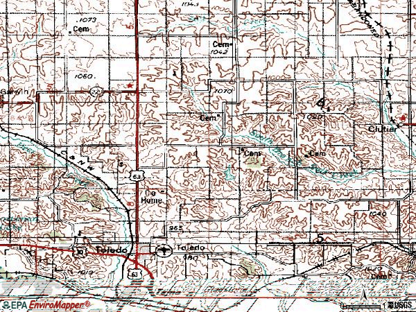 Zip code 52342 topographic map