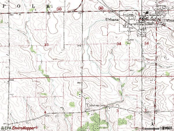 Zip code 52345 topographic map