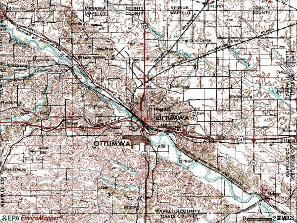 Zip code 52501 topographic map