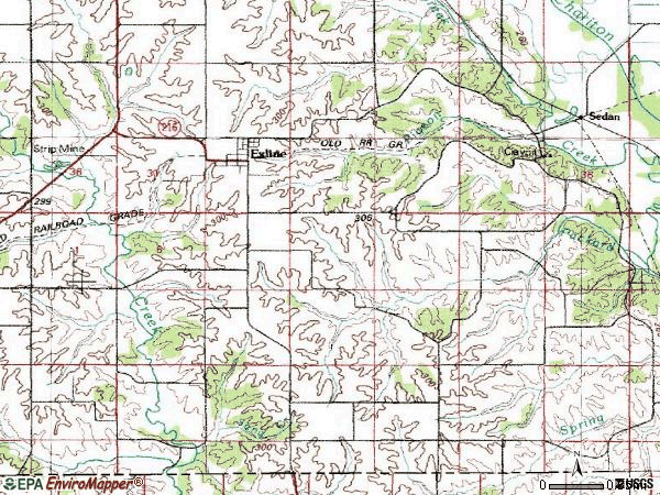 Zip code 52555 topographic map