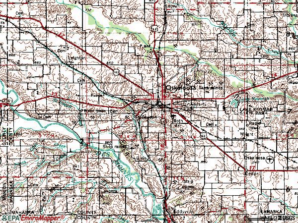 Zip code 52577 topographic map