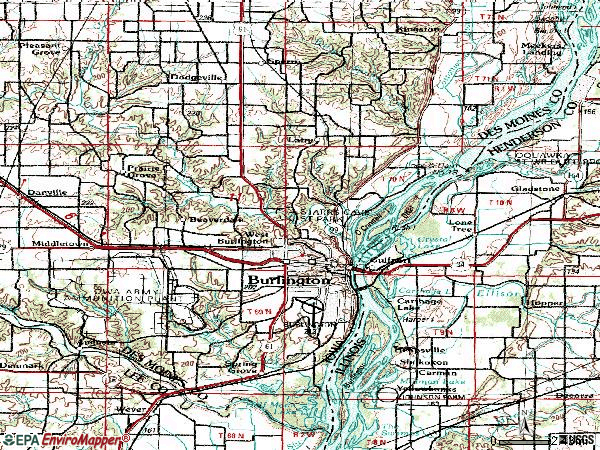 Zip code 52601 topographic map