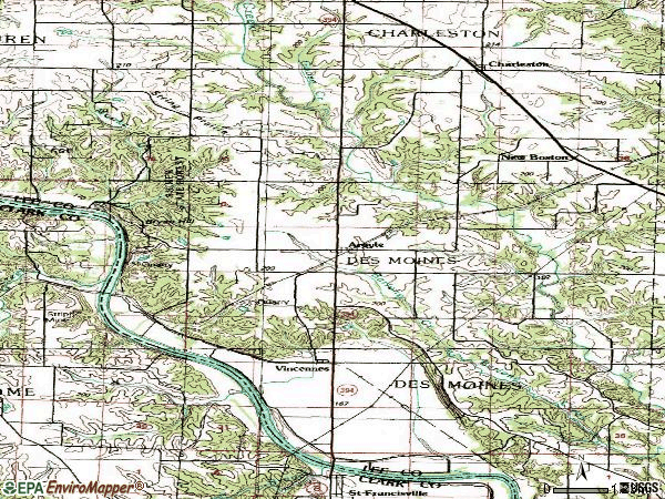 Zip code 52619 topographic map