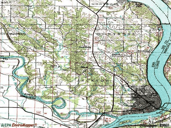 Zip code 52632 topographic map
