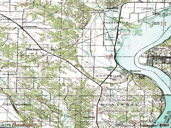 Zip code 52639 topographic map