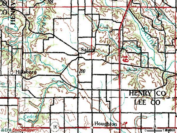 Zip code 52649 topographic map