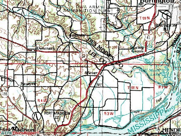 Zip code 52658 topographic map