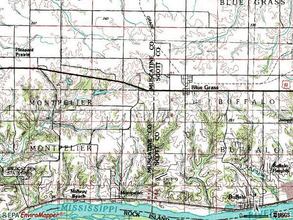 Zip code 52726 topographic map